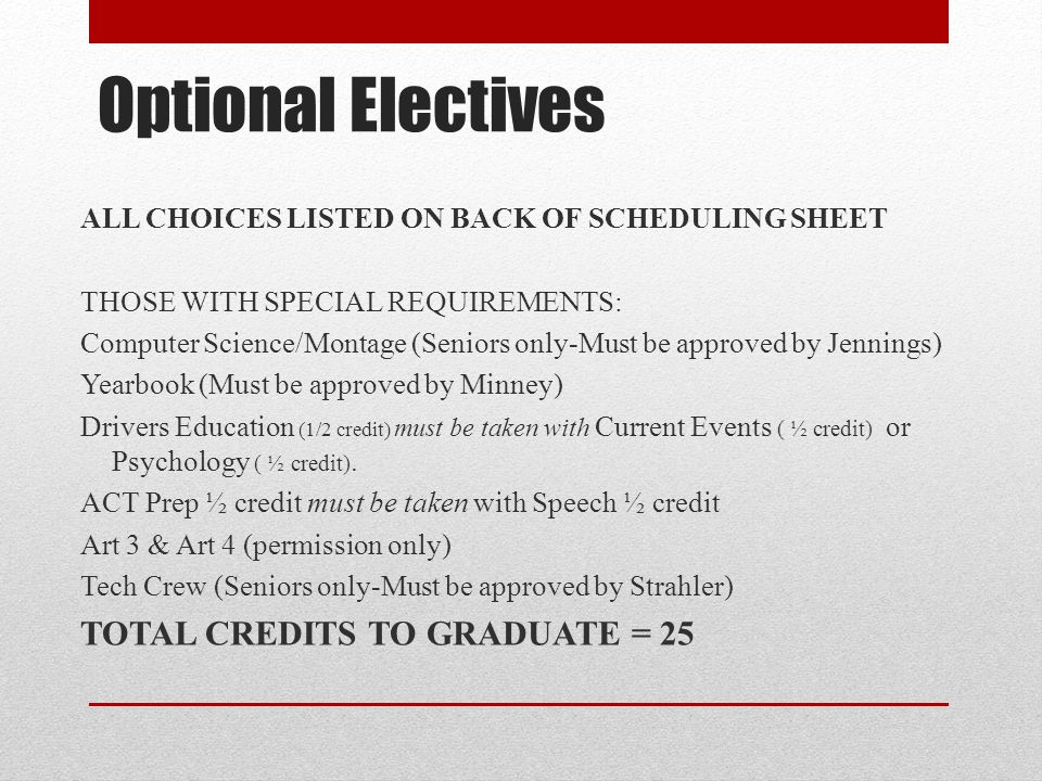 Optional Electives TOTAL CREDITS TO GRADUATE = 25