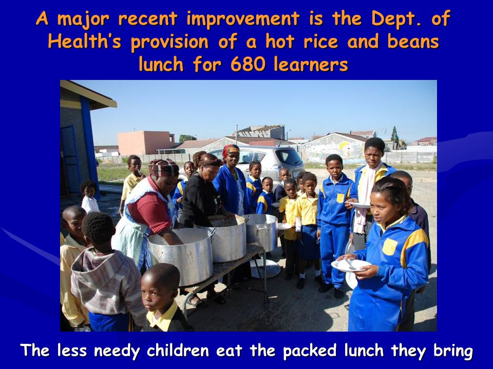 The less needy children eat the packed lunch they bring