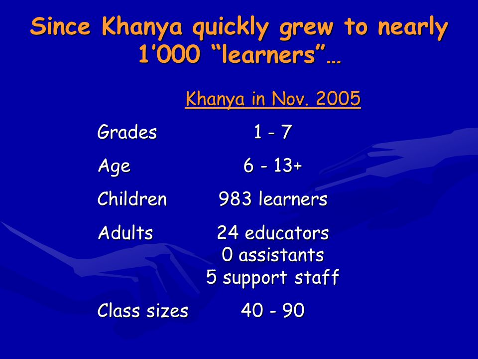 Since Khanya quickly grew to nearly 1'000 learners …