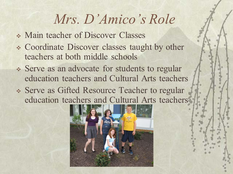 Mrs. D'Amico's Role Main teacher of Discover Classes