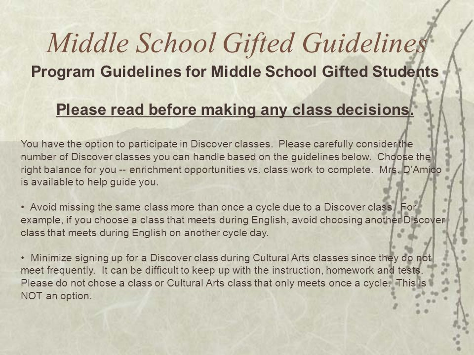 Middle School Gifted Guidelines