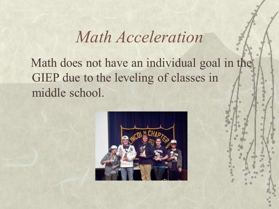 Math Acceleration Math does not have an individual goal in the GIEP due to the leveling of classes in middle school.
