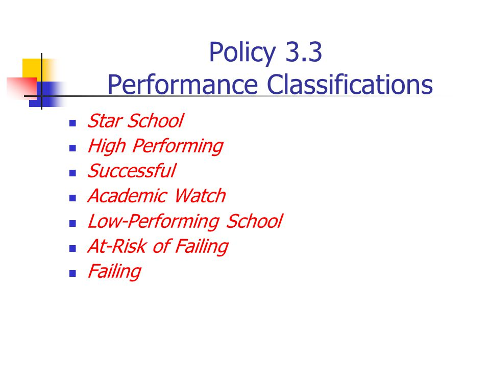 Policy 3.3 Performance Classifications