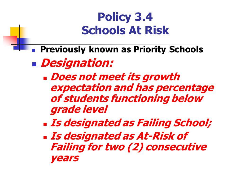 Policy 3.4 Schools At Risk Designation: