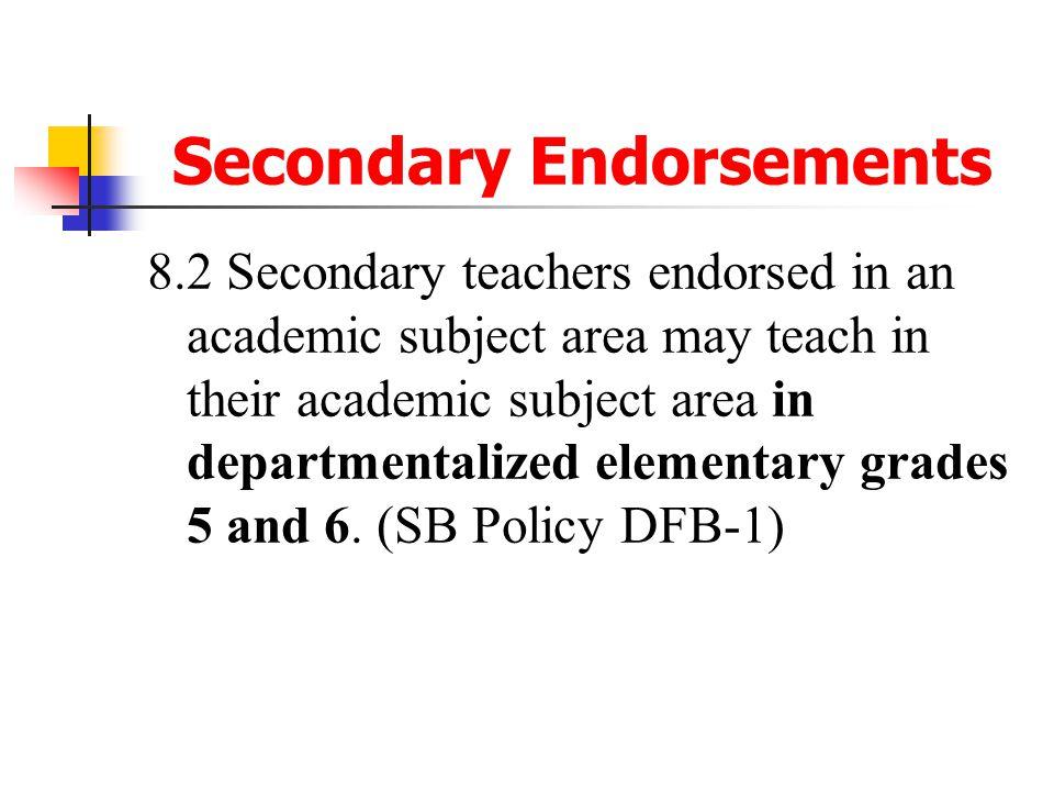 Secondary Endorsements
