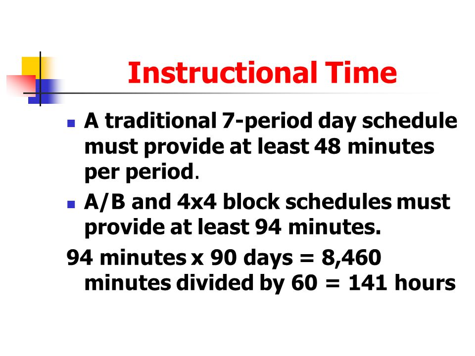 Instructional Time A traditional 7-period day schedule must provide at least 48 minutes per period.