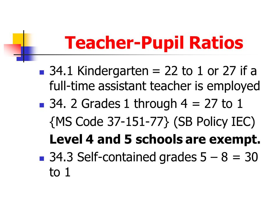 Teacher-Pupil Ratios 34.1 Kindergarten = 22 to 1 or 27 if a full-time assistant teacher is employed.