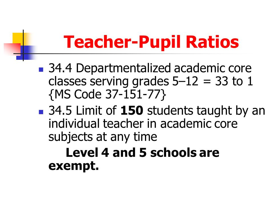 Teacher-Pupil Ratios 34.4 Departmentalized academic core classes serving grades 5–12 = 33 to 1 {MS Code 37-151-77}