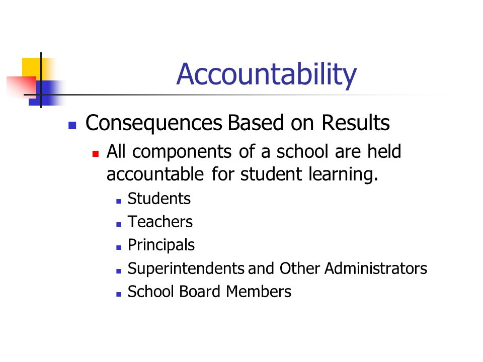Accountability Consequences Based on Results