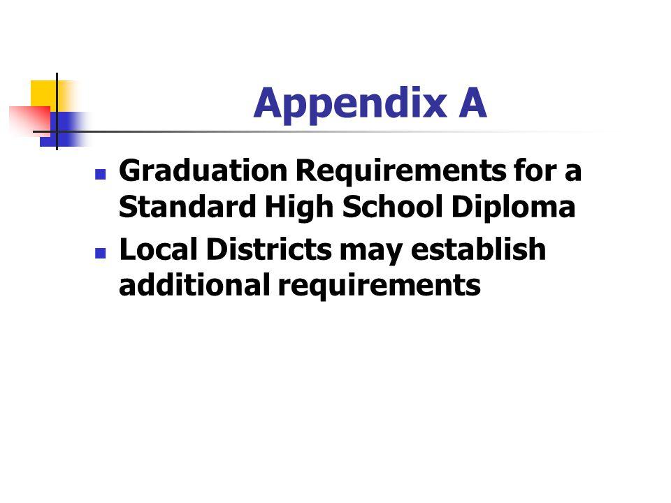 Appendix A Graduation Requirements for a Standard High School Diploma
