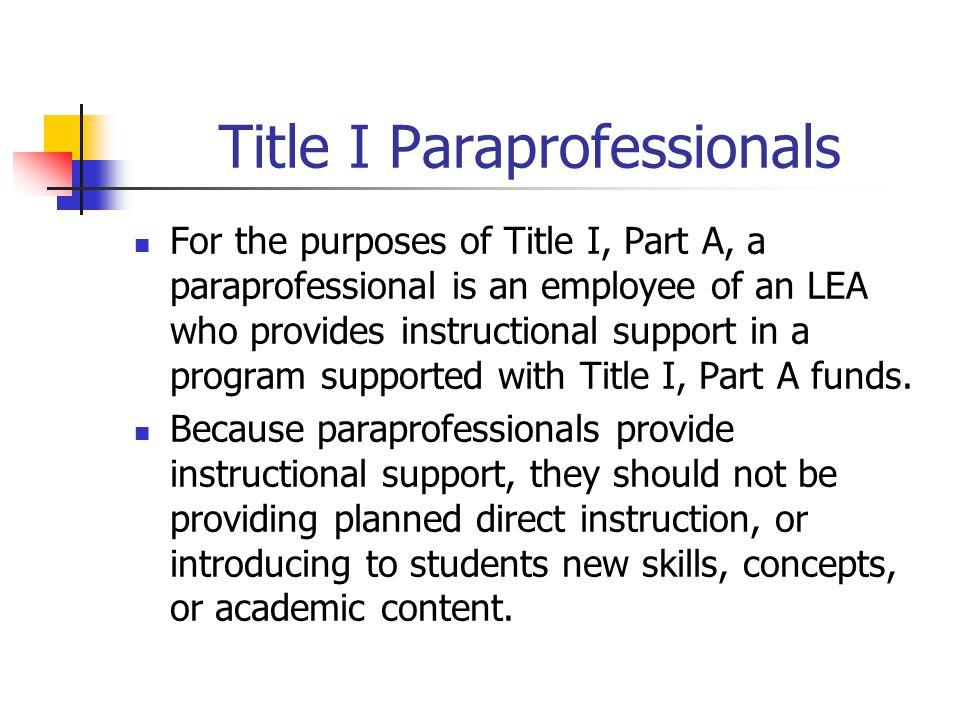 Title I Paraprofessionals