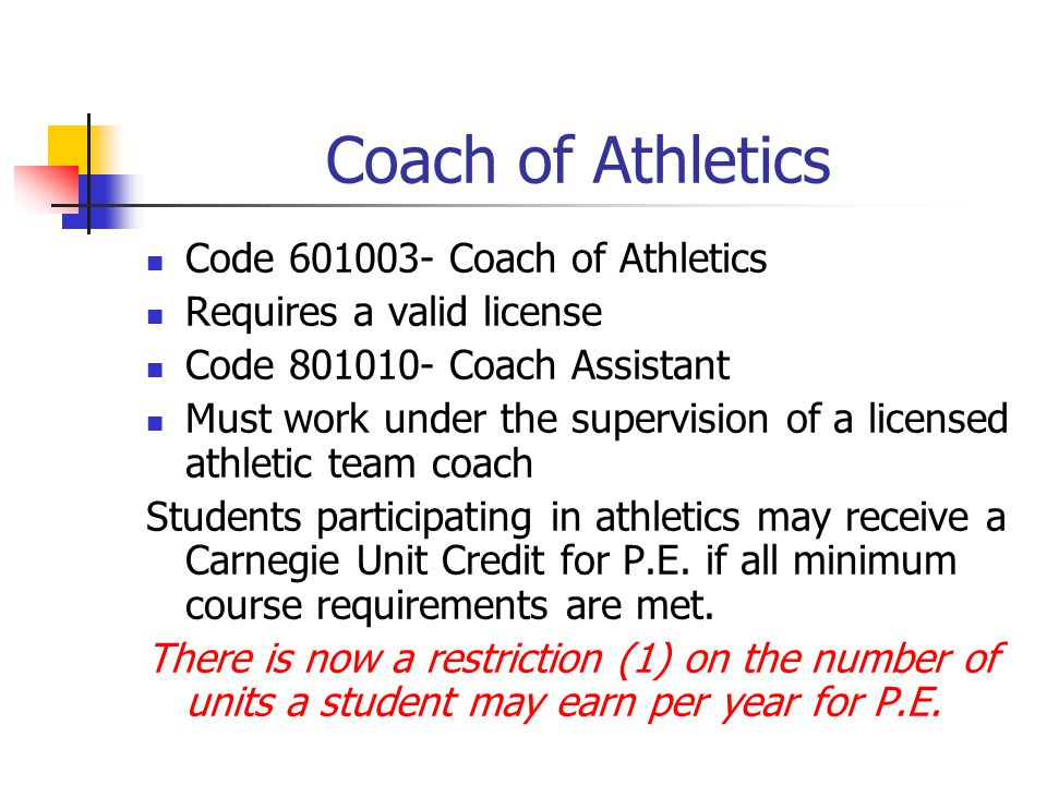 Coach of Athletics Code 601003- Coach of Athletics