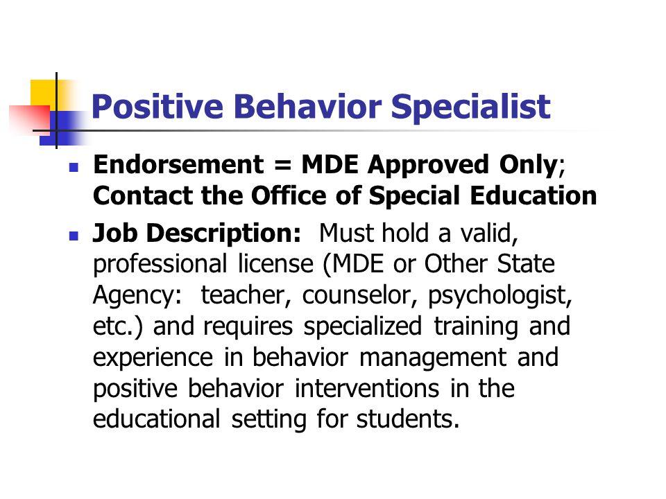 Positive Behavior Specialist
