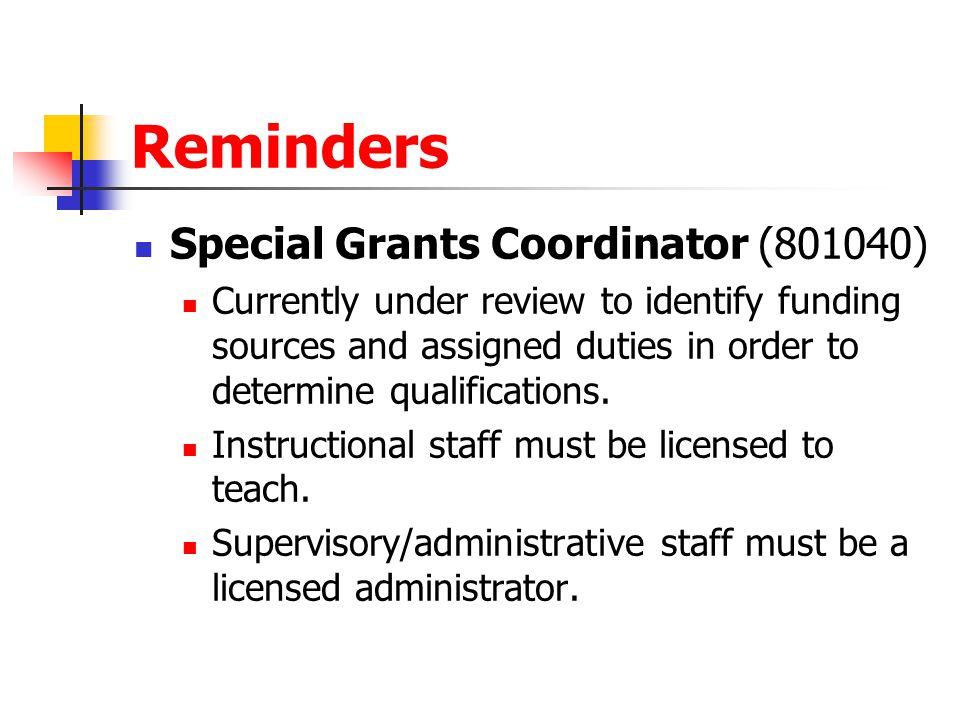Reminders Special Grants Coordinator (801040)