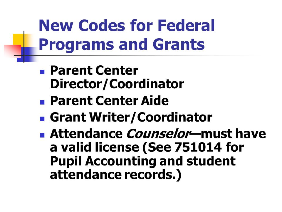 New Codes for Federal Programs and Grants