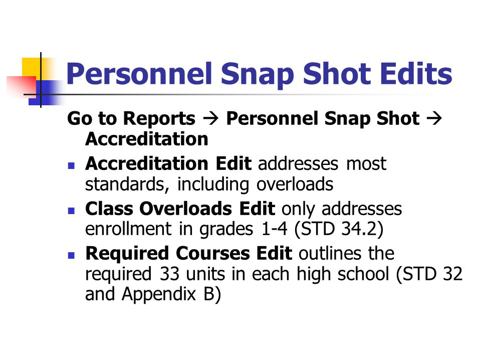 Personnel Snap Shot Edits