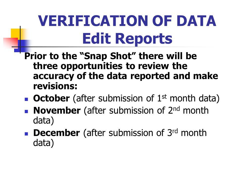 VERIFICATION OF DATA Edit Reports