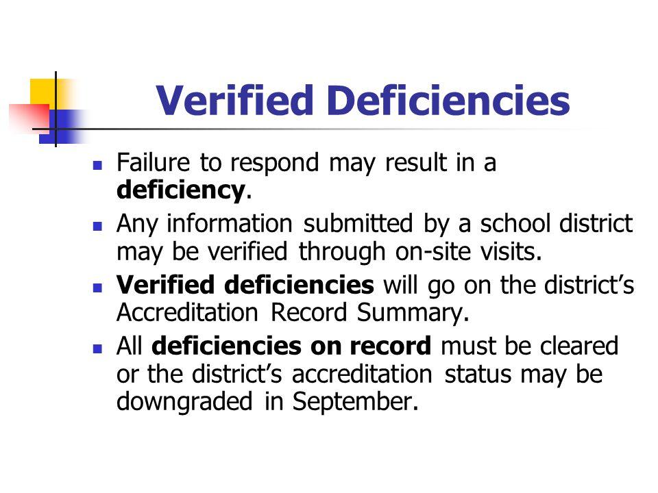 Verified Deficiencies