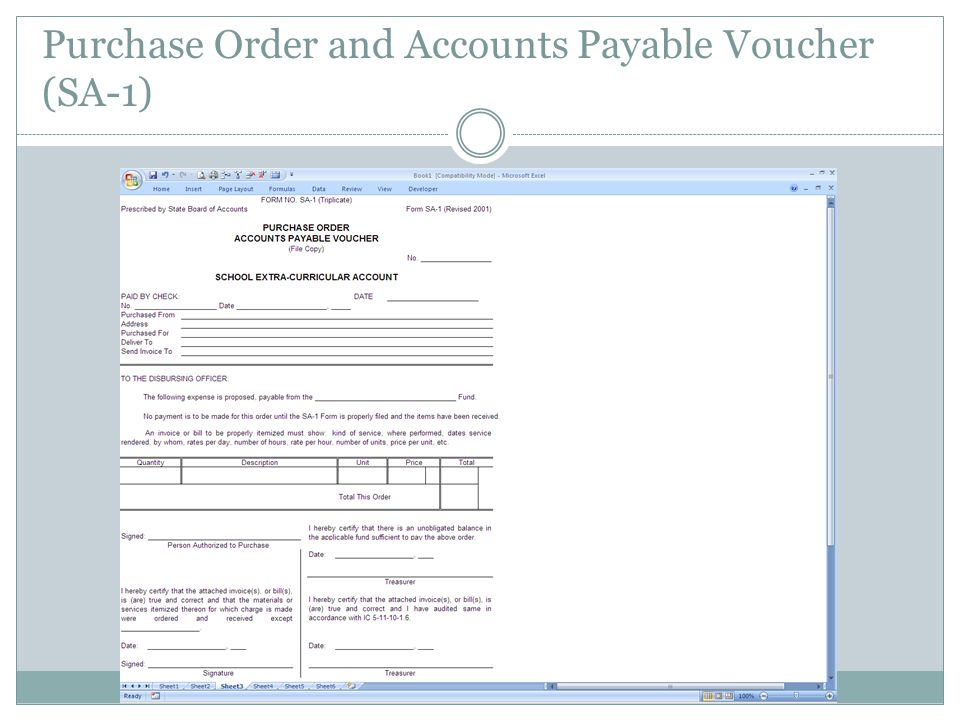 Purchase Order and Accounts Payable Voucher (SA-1)