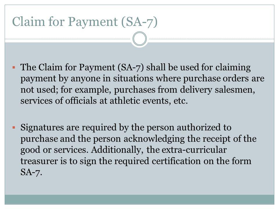 Claim for Payment (SA-7)