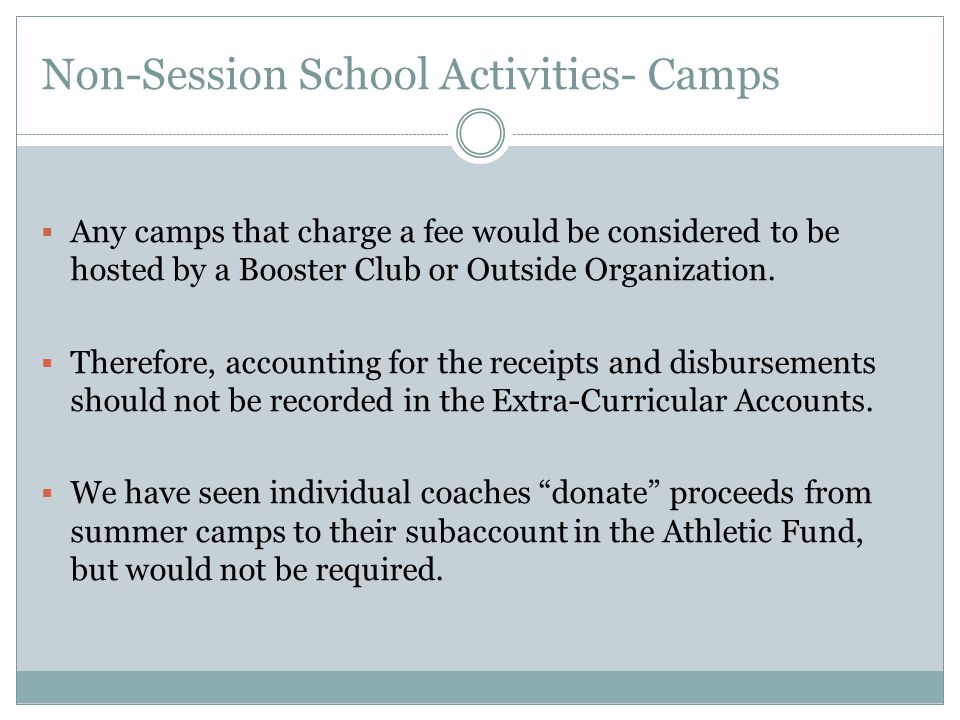 Non-Session School Activities- Camps