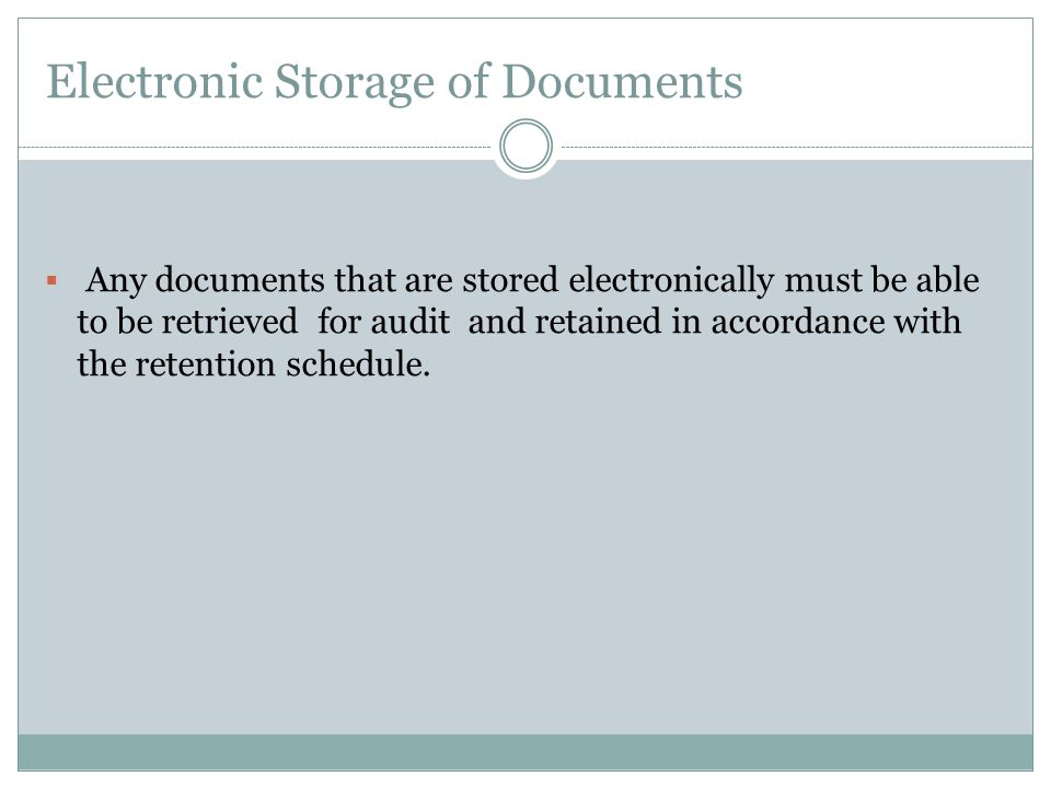 Electronic Storage of Documents
