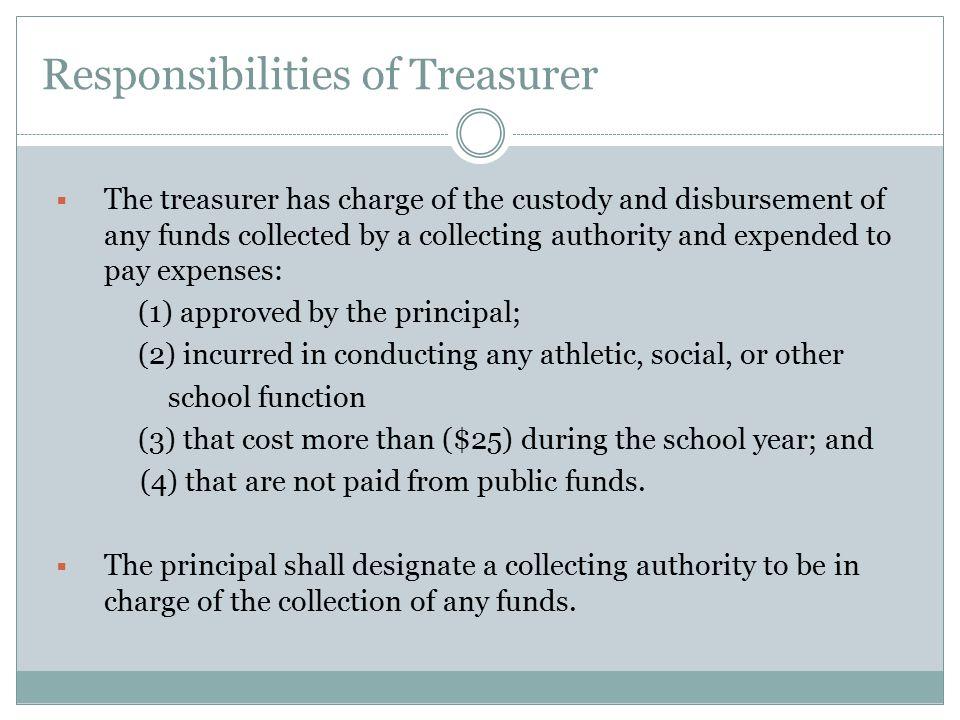 Responsibilities of Treasurer