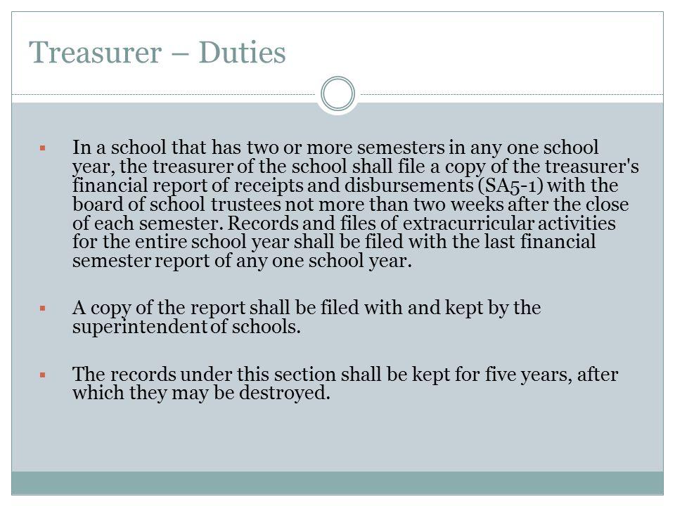Treasurer – Duties