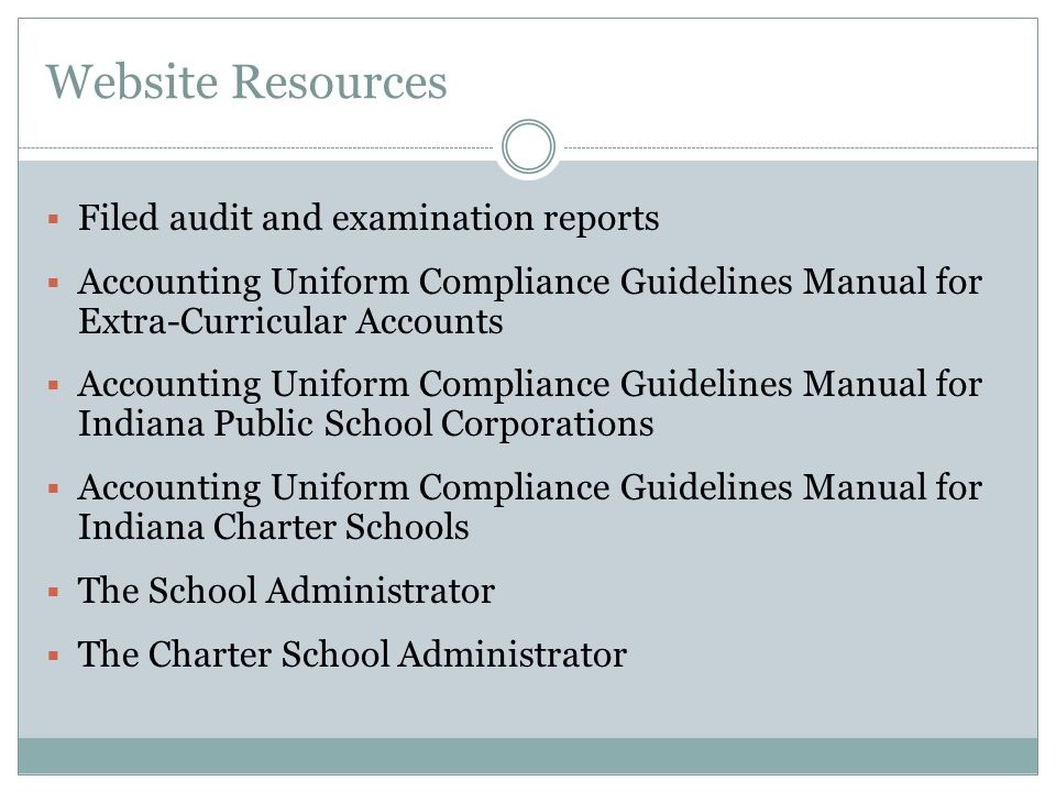 Website Resources Filed audit and examination reports