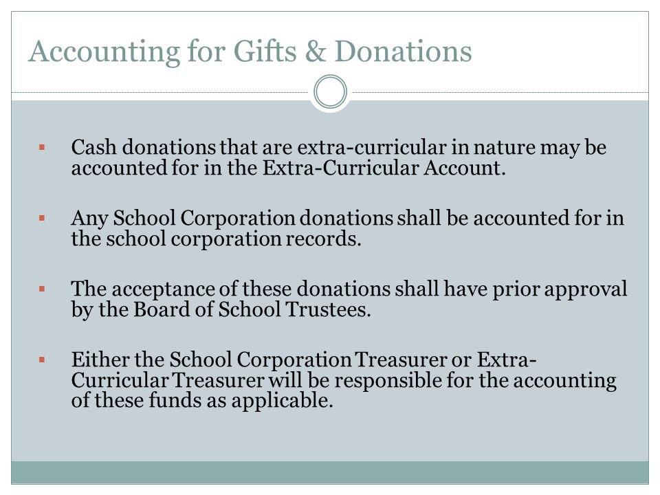 Accounting for Gifts & Donations