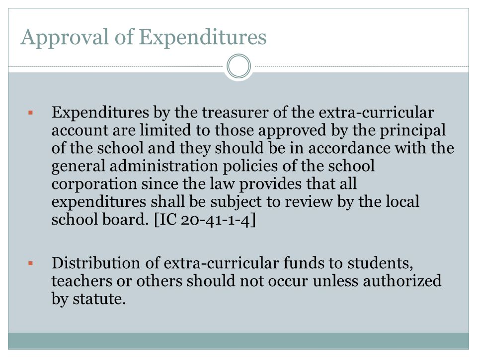 Approval of Expenditures