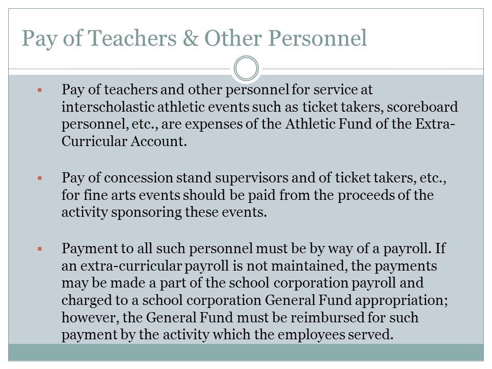 Pay of Teachers & Other Personnel
