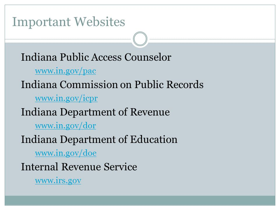 Important Websites Indiana Public Access Counselor