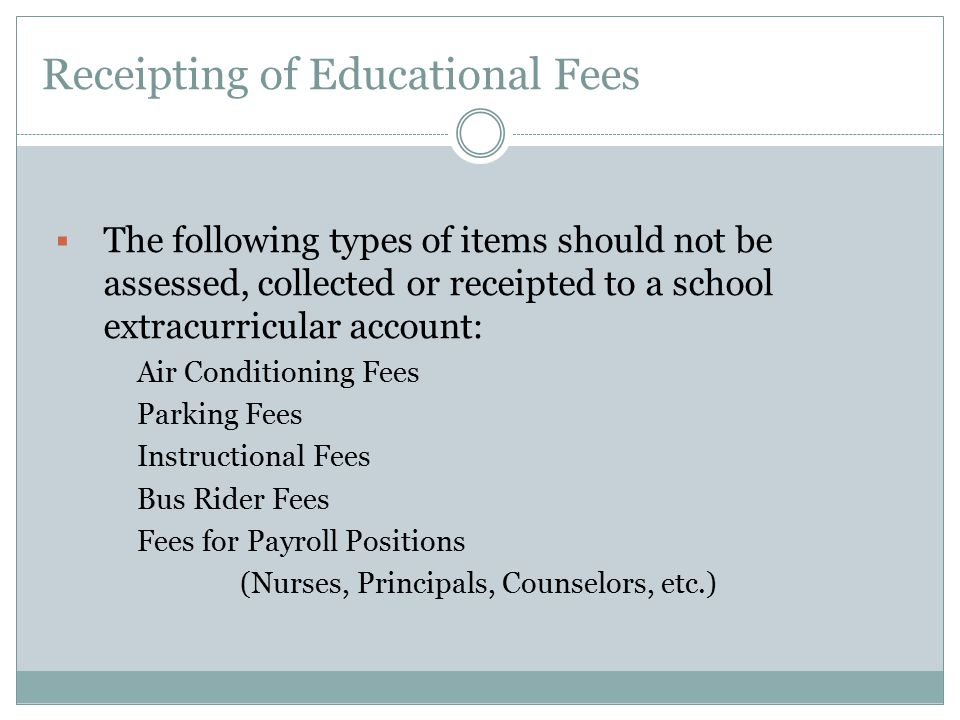 Receipting of Educational Fees