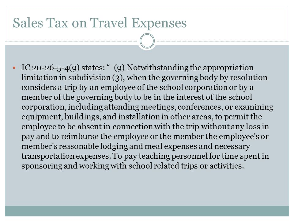 Sales Tax on Travel Expenses