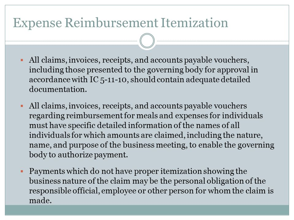 Expense Reimbursement Itemization
