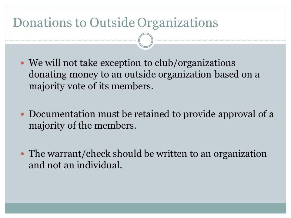 Donations to Outside Organizations