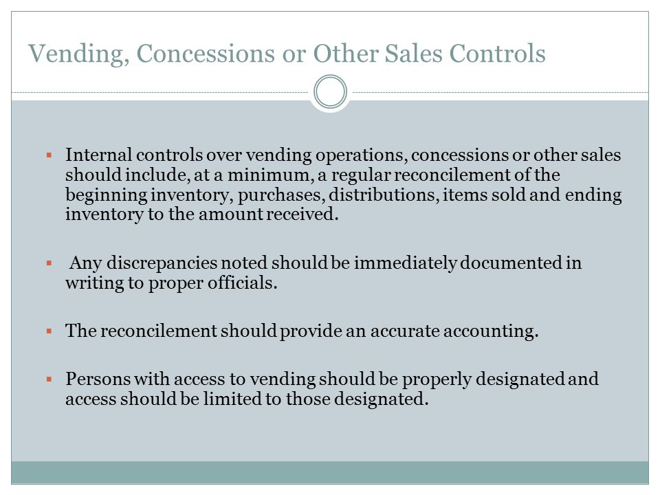 Vending, Concessions or Other Sales Controls