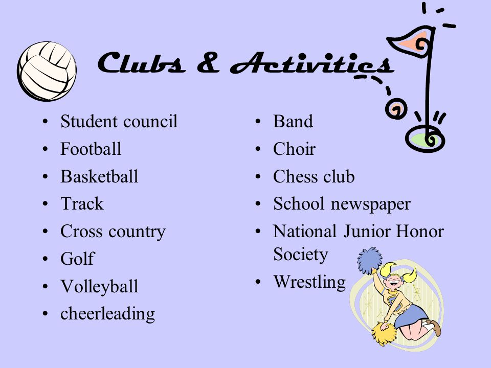 Clubs & Activities Student council Football Basketball Track