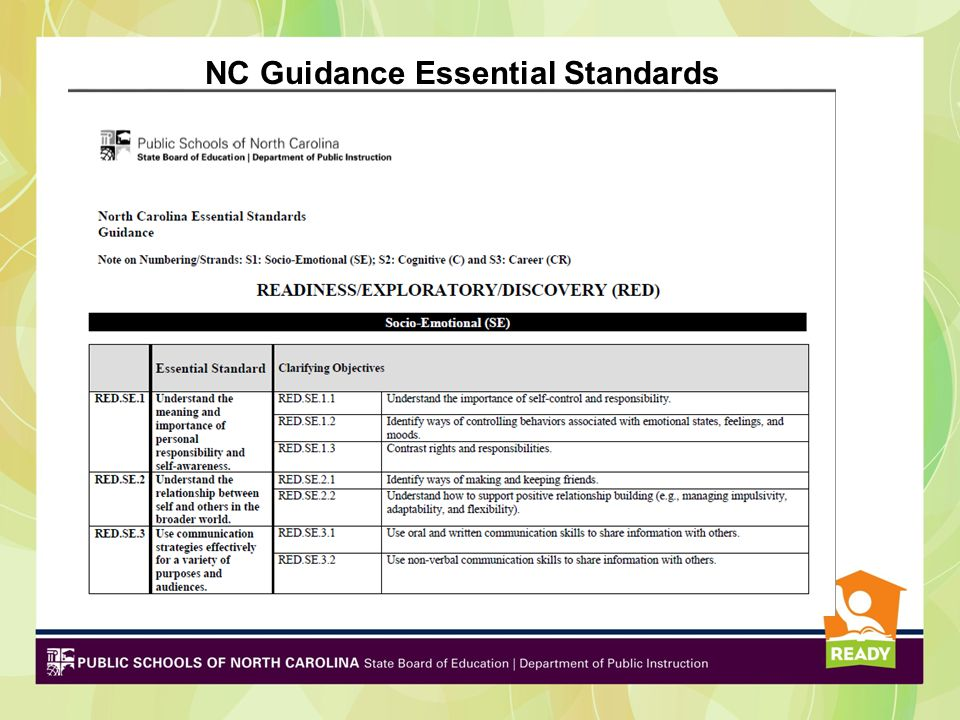 NC Guidance Essential Standards