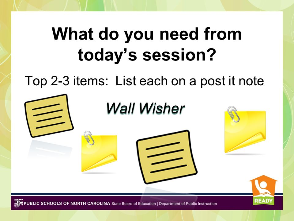What do you need from today's session