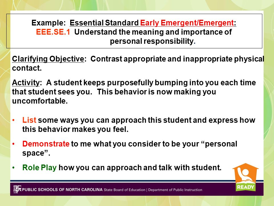Example: Essential Standard Early Emergent/Emergent: EEE. SE