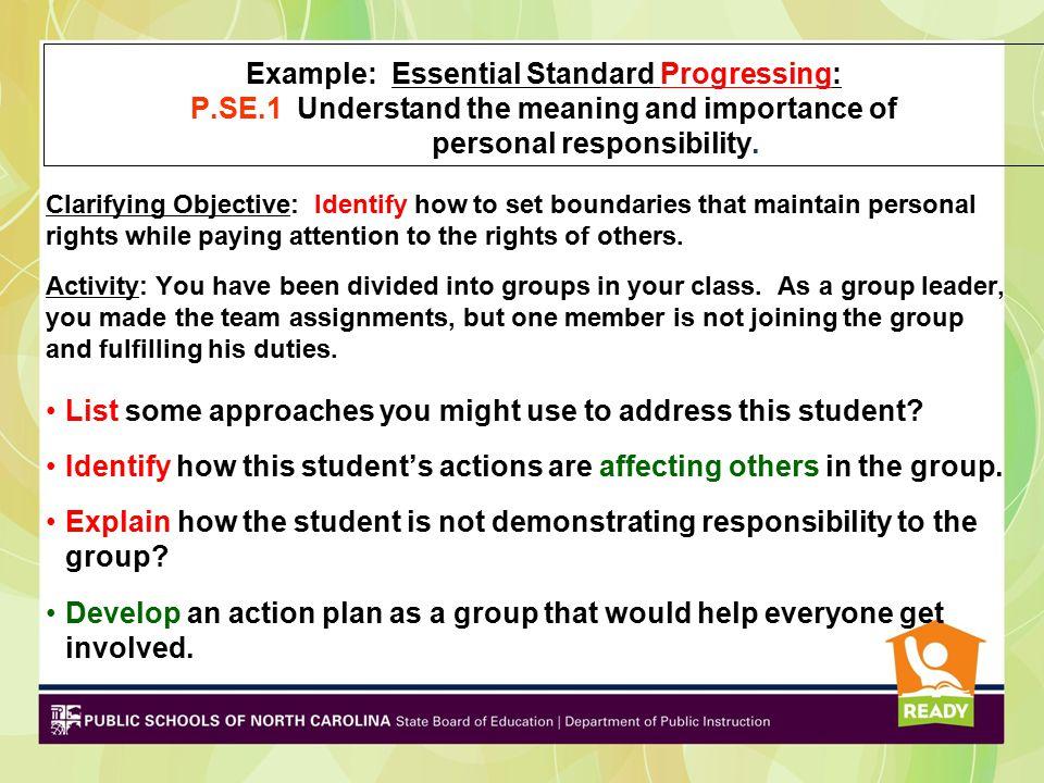 Example: Essential Standard Progressing: P. SE