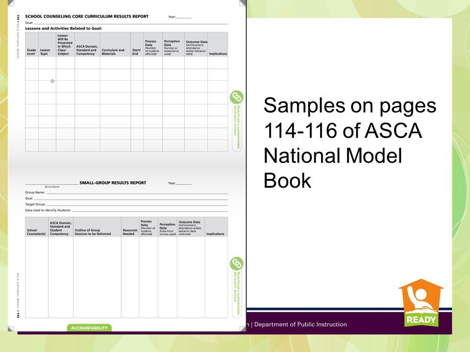 Samples on pages 114-116 of ASCA National Model Book