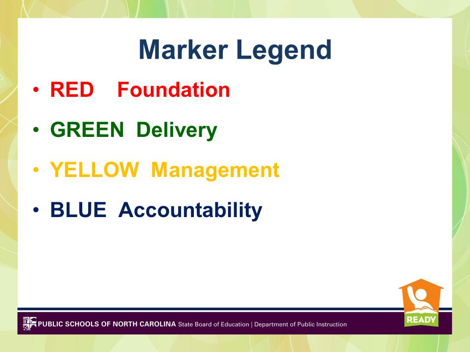 Marker Legend RED Foundation GREEN Delivery YELLOW Management