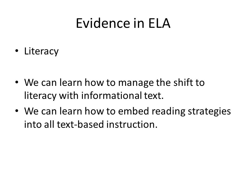 Evidence in ELA Literacy