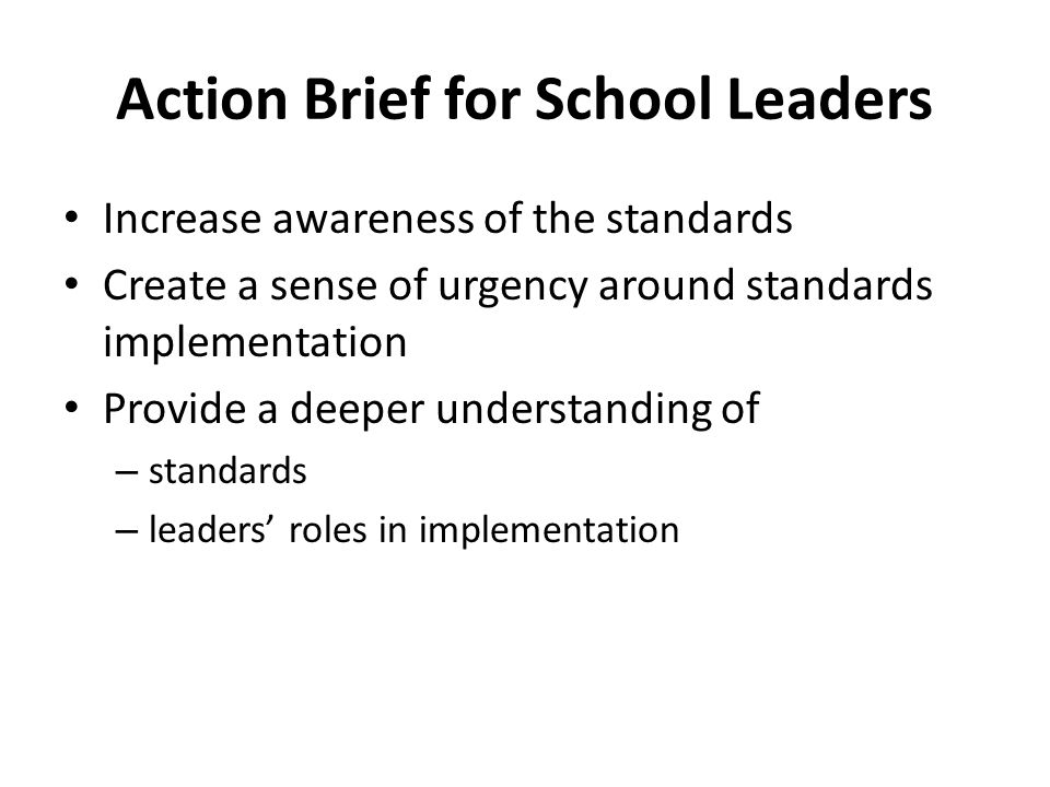 Action Brief for School Leaders
