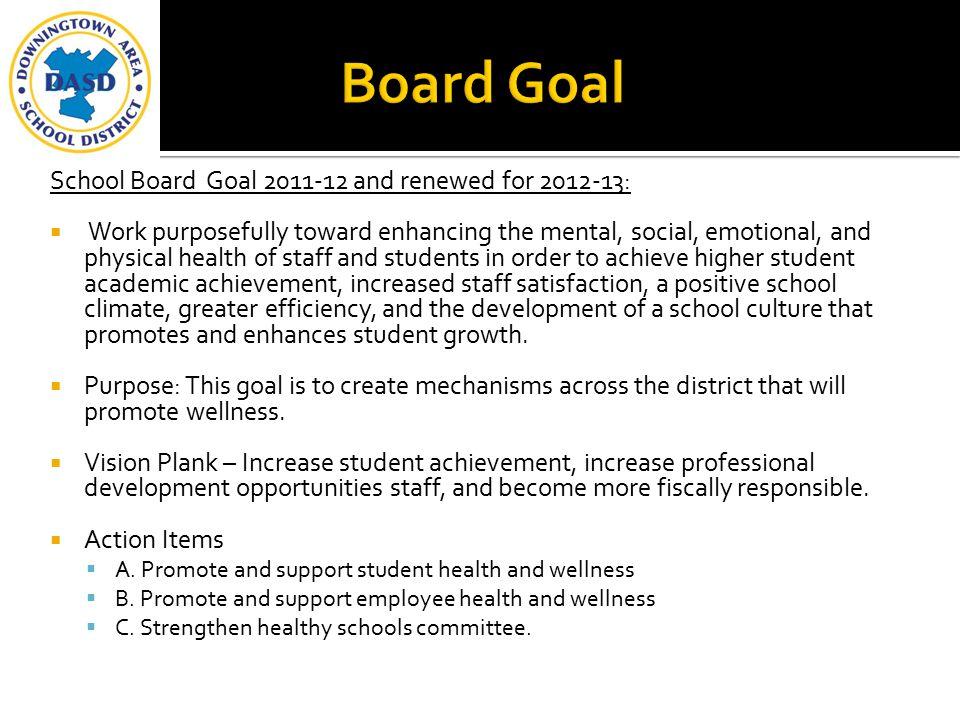 Board Goal School Board Goal 2011-12 and renewed for 2012-13: