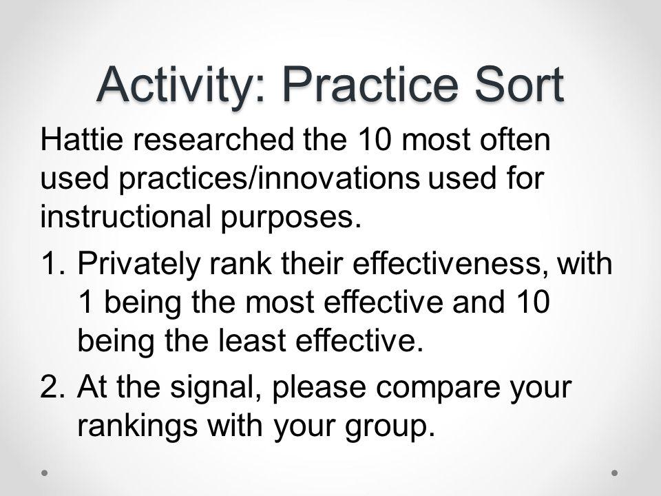 Activity: Practice Sort