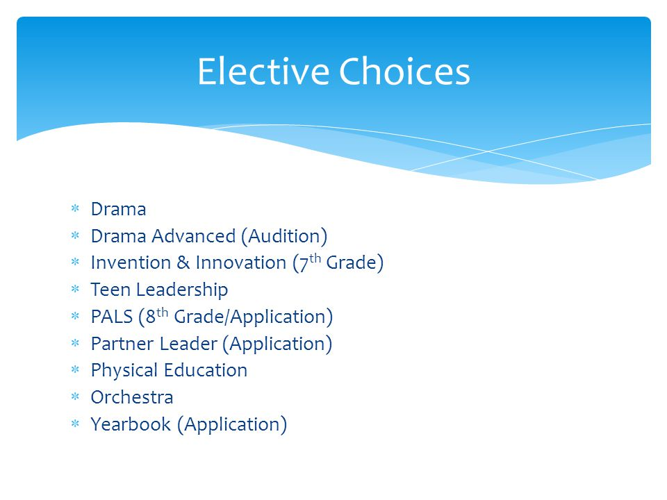 Elective Choices Drama Drama Advanced (Audition)